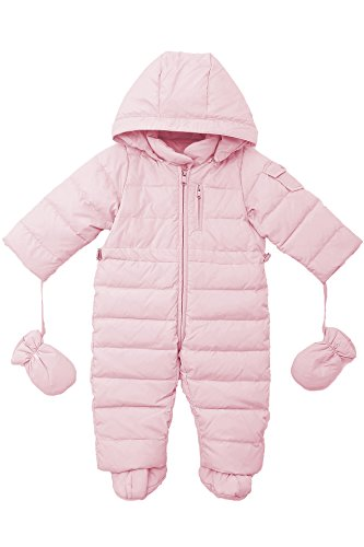 Oceankids Baby Boys Girls Pink Pram One-Piece Snowsuit Attached Hood 12M 9-12 Months