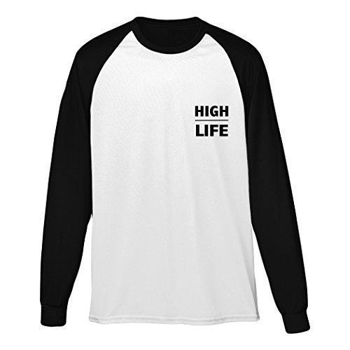 HighLife Manica Lunga Maglia Da Baseball Stampato Abbigliamento street Hipster Design A Maniche Lunghe Moda Urbana abbigliamento Uomo Donna Unisex - cotone, bianco con neri Maniche, 100% cotone, Donna, XL