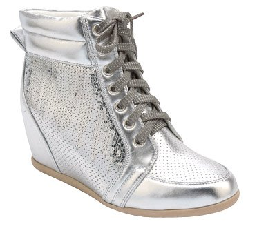 11 womens sequin lace up wedge sneakers
