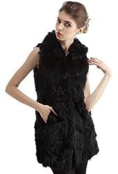 Queenfur Genuine Rabbit Fur Vest Real Rabbit Fur Sleeveless Jacket Hooded Outwear