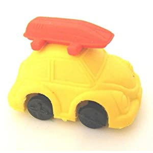 Yellow Beetle Car Erasers - 3D Novelty Rubbers by TAOS