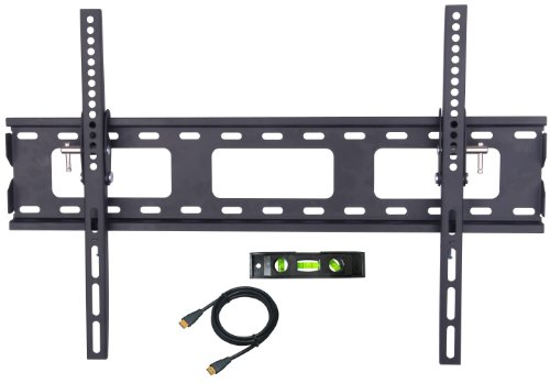 """Tsirtech® Mount Tilting (1.8"""" From Wall) Flat Screen Tv Wall Mount Bracket For 37-63 Inch Plasma, Led, And Lcd Tvs Up To Vesa 800X400 And 165Lbs, Including 6' Braided High Speed With Ethernet Hdmi Cable And Integrated Bubble Level"""