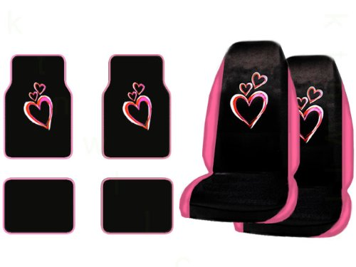 A Set of 4 Universal Fit Optic Art Multicolor Hearts Plush Carpet Floor Mats and A Set of 2 Universal Fit Seat Covers (Purple Fairy Seat Covers compare prices)