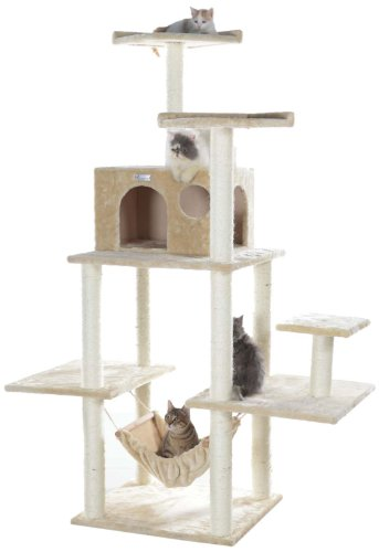 GleePet GP78680621 Cat Tree with Hammock, 68-Inch, Beige