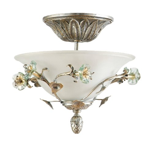 """Yosemite Home Decor Mgj768 Morning Glory Handmade Three Light Semi-Flush Mount With Nouvel Cracked Glass In Caribbean Gold Finish, 15.75"""" X 15.25"""" front-263826"""