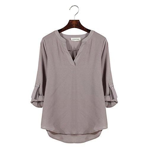 HIMONE Women's Loose Casual Solid Long Sleeve Chiffon Shirt Tops Blouse Grey XXL