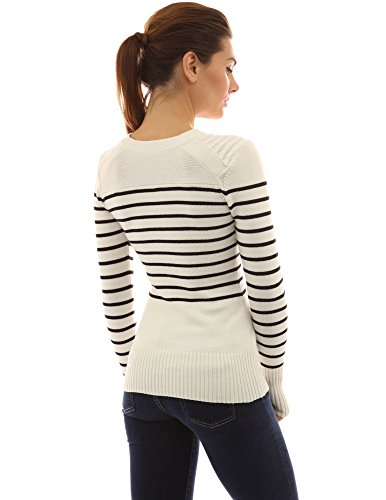 PattyBoutik Women's Crewneck Striped Military Sweater (Ivory and Black XL)