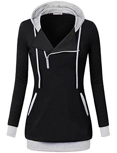 For Juniors Sweaters & Hoodies,Messic Women's Slim Fit 1/4 Oblique Zipper Hoodie Sweatshirt,Black,Medium (Thermal Hoodie Womens compare prices)