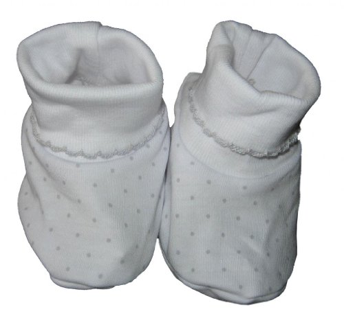Kissy Kissy Baby Dots Booties-White With Silver Dots-One Size front-955496