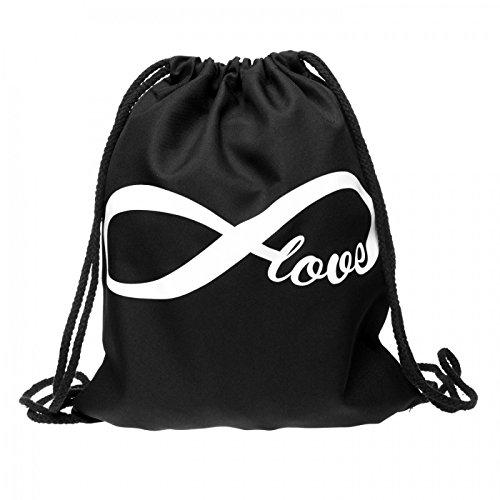 Sacca sportiva a tracolla per l'allenamento, ma non solo. Ultra leggero lifestyle viaggio borsa borsetta palestra zaino a spalla trend sport per uomini donne ragazzi ragazze bambini, Turnbeutel 1 RU-10-50:RU-25 schwarz Endless Love