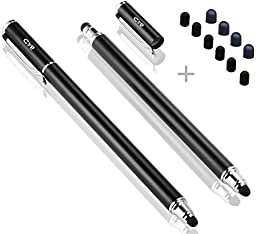 Bargains Depot (2 Pcs) [New Upgraded][0.18-inch Small Tip Series] 2-in-1 Stylus/Styli 5.5-inch L with 10 Replacement Rubber Tips -Black/Black