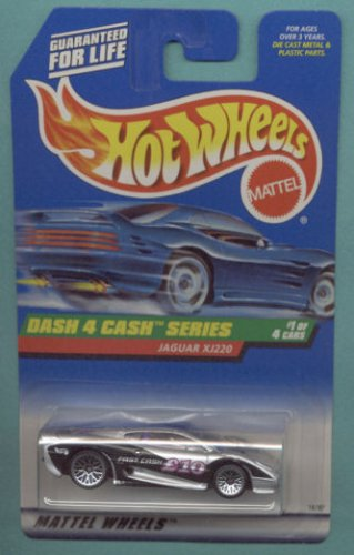 Mattel Hot Wheels 1998 1:64 Scale Dash 4 Cash Series Black & Silver Jaguar XJ220 Die Cast Car 1/4 - 1