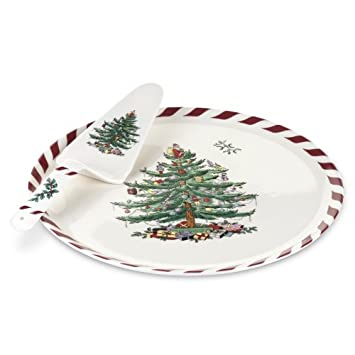 #!Cheap Spode Christmas Tree Peppermint Cake Plate and Server, 11-Inch