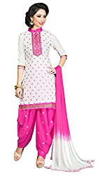 Justkartit Women's Unstitched White & Pink Daily Wear Salwar Suit material / Casual Wear Salwar Kameez / Beautiful Pink & White Colour Patiala Salwar Kameez / Latest Salwar Kameez Collection (Daily Wear Salwar Suit - July 2016)