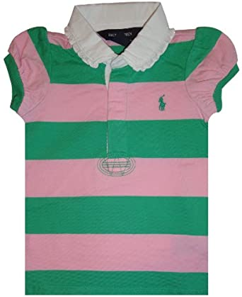 Infant girl 39 s ralph lauren polo short sleeve rugby shirt for Pink and purple striped rugby shirt