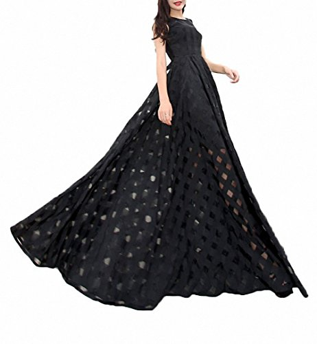 Afibi Women's Slim Beach Dress Casual Party Long Maxi Dresses (Small, black)