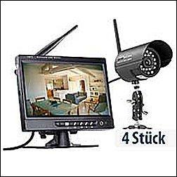 Kabelloses Profi-Überwachungssystem, mit 4 IR-Funk-Kameras (VisorTech)