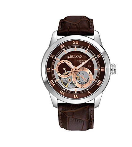 bulova-automatic-mens-watch-with-brown-dial-analogue-display-and-brown-leather-strap-96a120