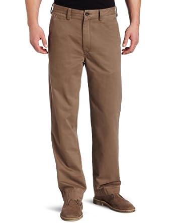 Haggar Men's LK Life Khaki Relaxed Straight Fit Flat Front Chino Pant,Medium Brown,32x30