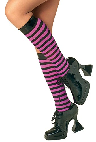 Knee High Striped Halloween Witch Stockings - Purple/Black (B226)