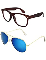 Sheomy Unisex Combo Pack Of Transparent Brown Wayfarer Sunglasses And Golden Blue Mercury Aviator Sunglasses For...