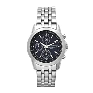 Click to buy Seiko Watches for Men: SNDC07P1 Chronograph Dark Blue Dial Stainless Steel Watch from Amazon!