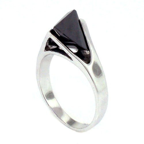 Classic Solitaire Promise Ring w/Fancy-cut Black CZ, 10
