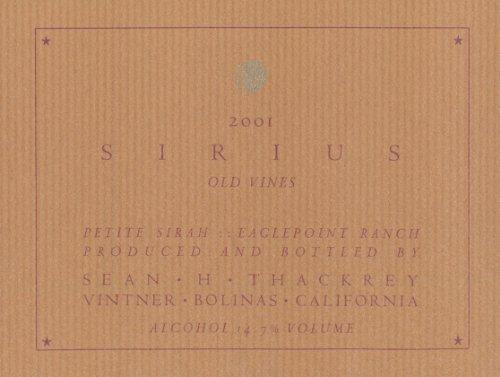 2001 Thackrey Sirius Petite Sirah 750 Ml