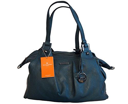 Borsa donna a spalla David Jones in ecopelle modello grande con doppio manico - blu metallizzato