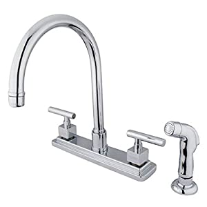 Kingston Brass KS8791CQL Claremont 8-Inch Kitchen Faucet With Plastic Sprayer, Polished Chrome