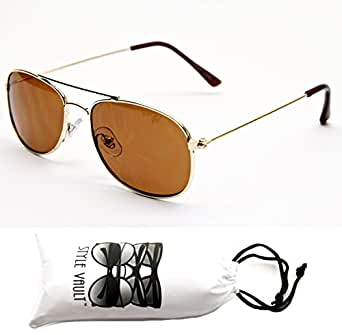 Kd202-vp Style Vault(TM) Kids Aviator Sunglasses (6110 Gold-Brown, mirrored)