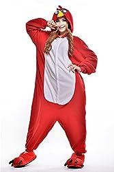 VU ROUL Unisex Adult Clothing Kigurumi Cosplay Bird Costume Pyjamas Red
