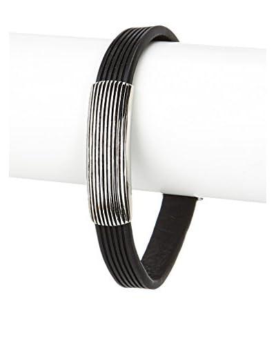 Stephen Oliver Oxidized Silver & Black Leather Bracelet