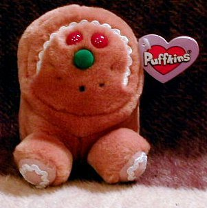 Puffkins Bean bag, NWT - Spice - Christmas Gingerbread man - 1