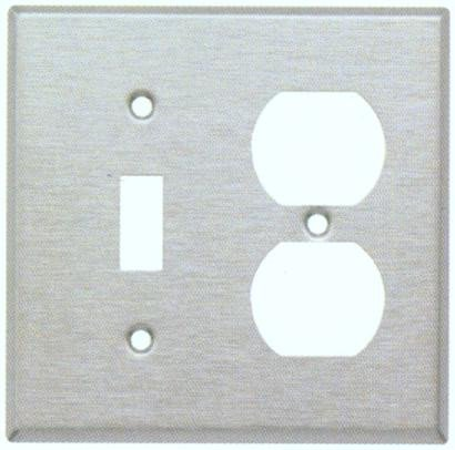 Morris Products Two Gang / Duplex And Toggle Metal Wall Plates In Stainless
