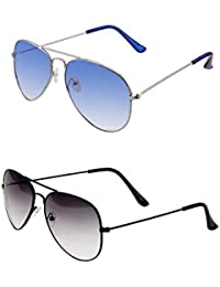 SHEOMY COMBO OF STYLISH SILVER BLUE AVIATOR GOGGLES AND BLACK WHITE AVIATOR SUNGLASSES WITH 2 BOX - Free Delivery