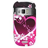 Hard Snap-on Shield With PINK HEART FLOWER LOVE RUBBERIZED Desing Faceplate ....