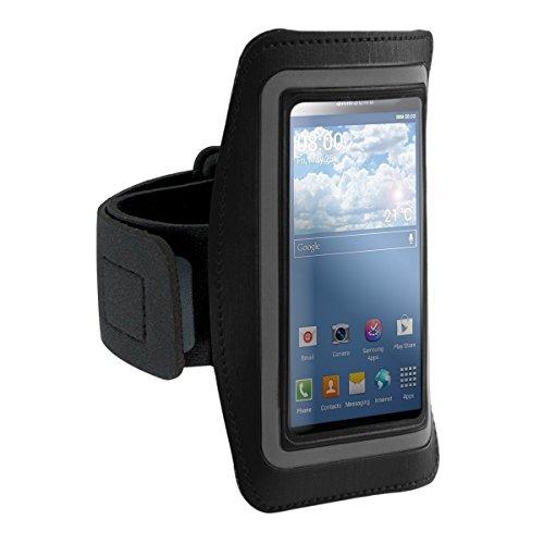 kwmobile fascia da braccio sportiva per Samsung Galaxy S5 Mini G800 - jogging corsa borsa da sport fascia fitness con scomparto per chiavi nella fascia da braccio in nero