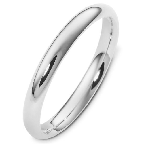 14K White Gold, Comfort Fit Wedding Band 3MM (sz 6)