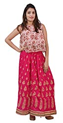 Carrol Long Ethnic Skirt-Pink