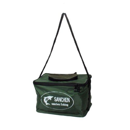 Poratable Strap Ellipse Meshy Mouth Decor Folding Green Fishing Bucket front-1043321