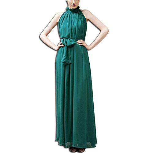 KAXIDY Elegante Vestidos Mujer Vestidos de Noche Vestidos de Cóctel Vestido Largo (Verde Negruzco)
