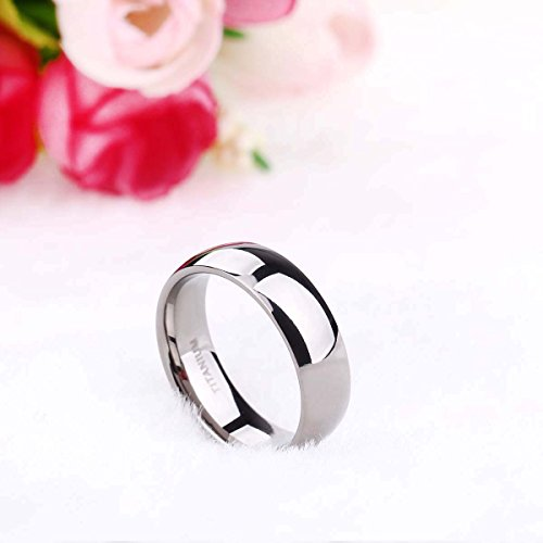 6mm Titanium Plain Dome High Polished Wedding Band Ring Comfort Fit Size 4-15 £¨Titanium, 10.5)