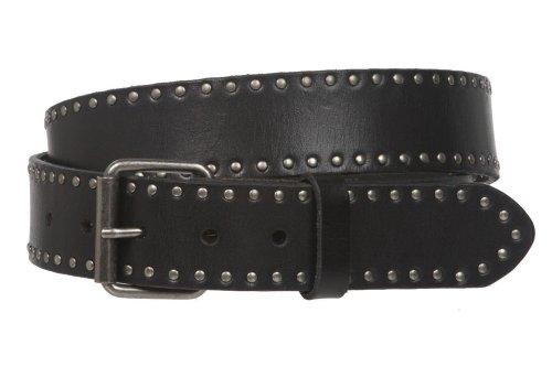 "Genuine Vintage Retro Circle Studded Leather Belt - Interchangeable buckle Size: 38"" Color: Black"