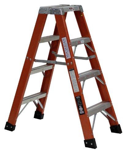 Michigan Ladder 3801-04 375 Pound Duty Rating Type 1AA Fiberglass Double Front Stepladder, 4-Foot