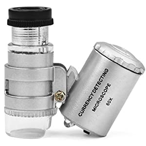 TRIXES Mini 60X Jewellery Loupe Lighted Magnifier Microscope