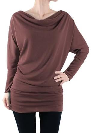 LeggingsQueen Long Sleeve Fashion Basic Tunic Top (Brown, Small)