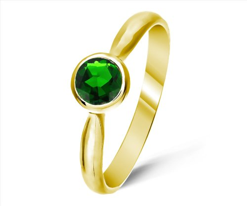 Classical 9 ct Gold Ladies Solitaire Engagement Ring with Chrome Diopside 0.50 Carat
