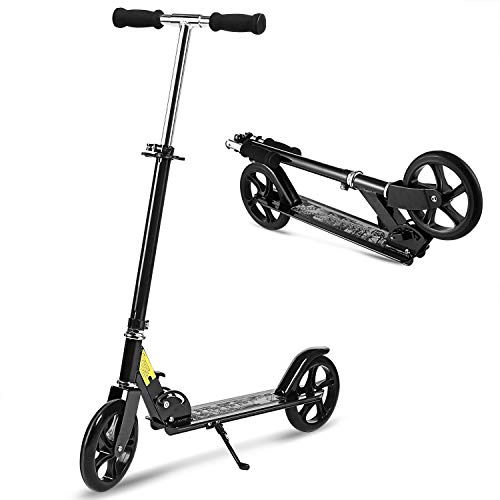 Hikole Folding Scooter for Big Kids and Adult with Easy Fold-n-Carry Design | Portable Foldable Height-Adjustable Ultra-Lightweight Kick Scooter for Children Boys Girls Age 8 +