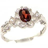 VINTAGE design 925 Solid Sterling Silver Natural Garnet & Pearl Ring – Finger Sizes 4 to 12…